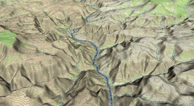 3-D view of the               Grand Canyon - centered at Mile 206