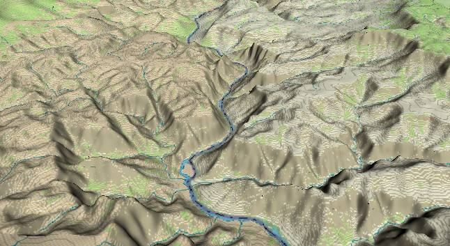 3-D view of the             Grand Canyon - centered at Mile 210