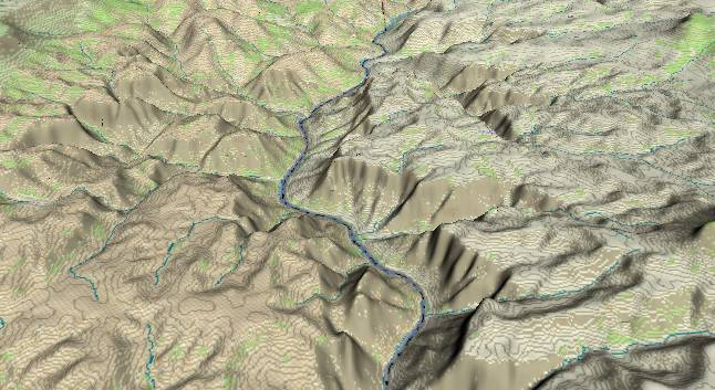 3-D view of the Grand Canyon -               centered at Mile 214