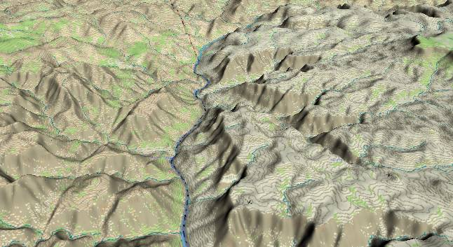 3-D view of the             Grand Canyon - centered at Mile 218