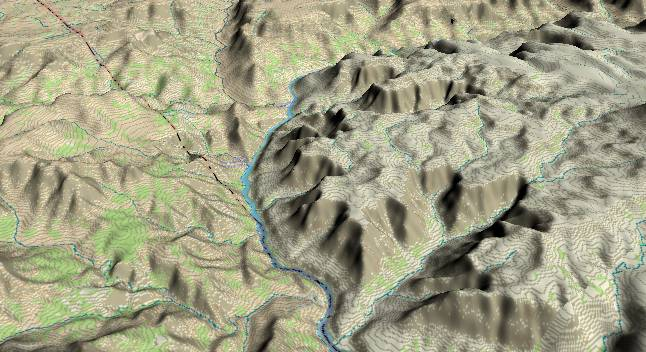 3-D view of the Grand Canyon -               centered at Mile 222