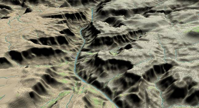 3-D view of the             Grand Canyon - centered at Mile 234