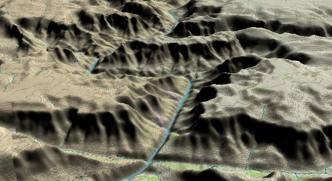3-D view of the             Grand Canyon - centered at Mile 242
