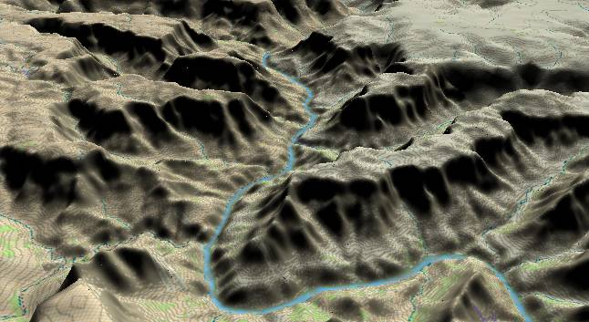 3-D view of the             Grand Canyon - centered at Mile 246