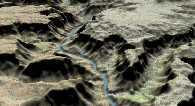 3-D view of the             Grand Canyon - centered at Mile 250