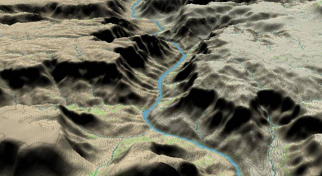 3-D view of the             Grand Canyon - centered at Mile 254