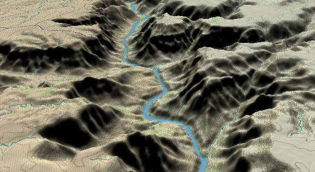 3-D view of the             Grand Canyon - centered at Mile 258