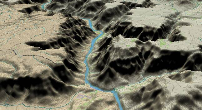 3-D view of the             Grand Canyon - centered at Mile 262