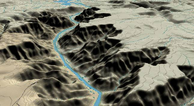 3-D view of the Grand Canyon -               centered at Mile 270