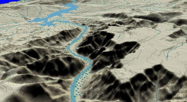 3-D view of the             Grand Canyon - centered at Mile 274