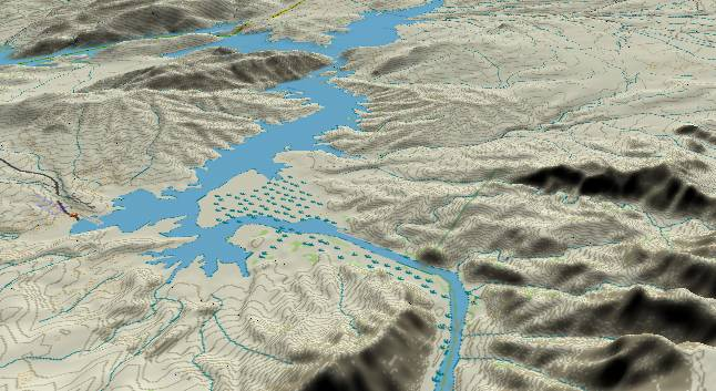 3-D view of the             Grand Canyon - centered at Mile 278
