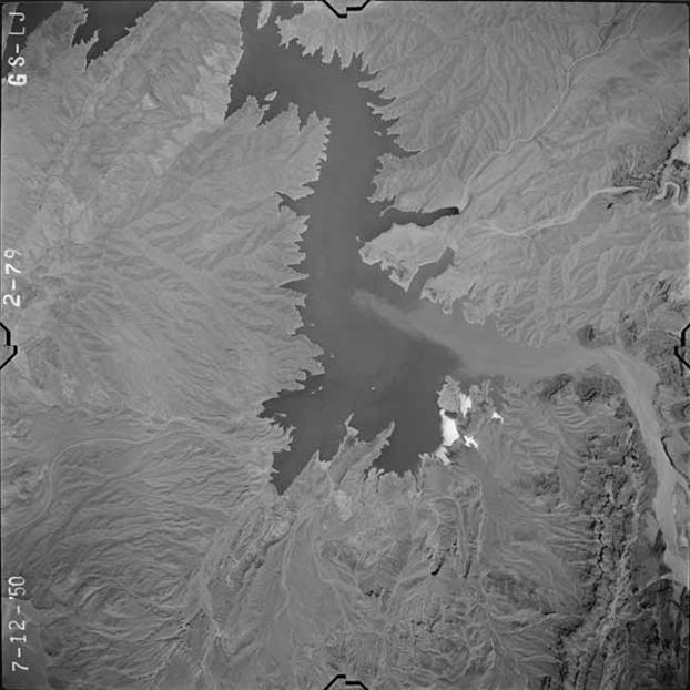 A 1950 aerial view of the upper end of Lake Mead.