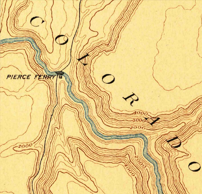 An 1892 USGS Topo map of the Pearce Ferry area.