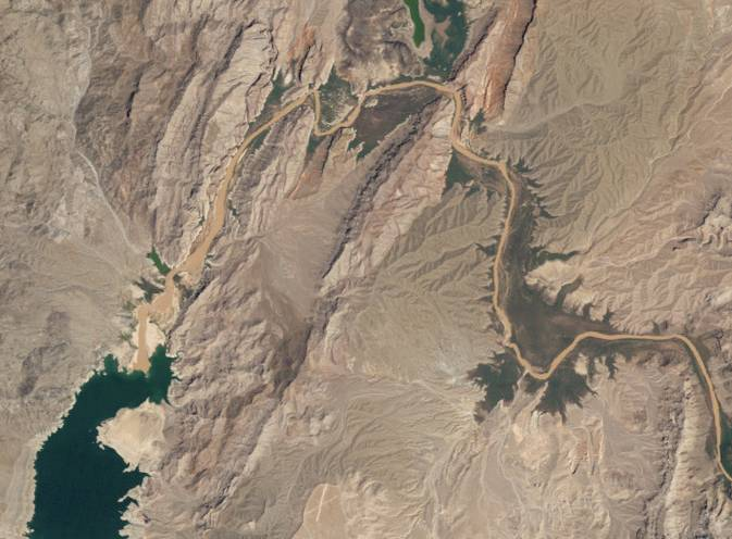 A satellite view of the upper end of Lake Mead in 2010.