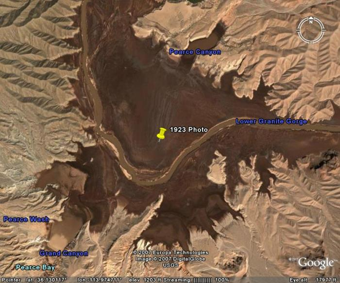 Overview of (historic) Lake Mead and the location of the new rapid.