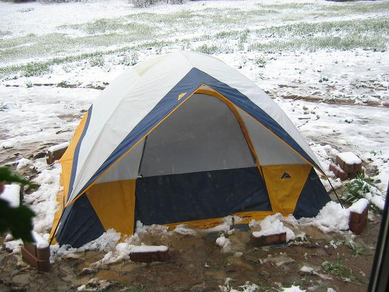 A late season snow nearly collapsed the tent.