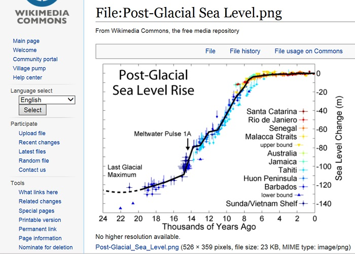 Wkipedia's chart showing sea level over the past           24,000 years.