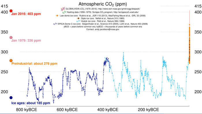 The 800,000 year carbon dioxide record.
