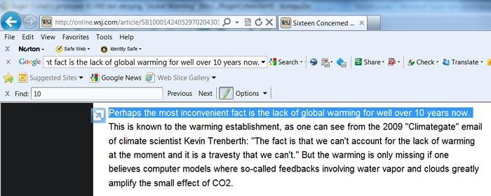 "The no global warming for ""for well over 10 years"" statement from the Wall Street Journal."