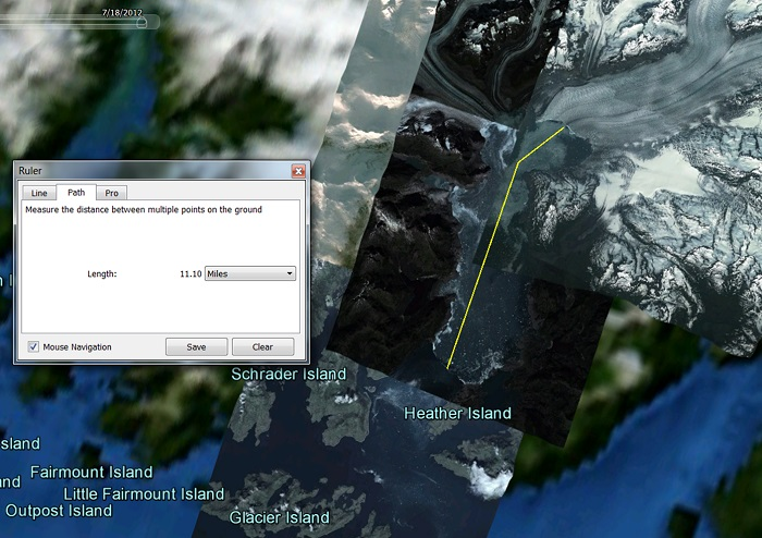 A Google Earth measurement of the Columbia Glacier's retreat