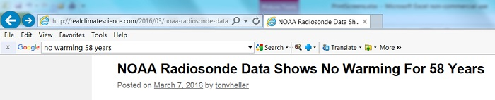 "Steve Goddard's ""NOAA Radiosonde Data Shows No Warming For 58 Years"" article."