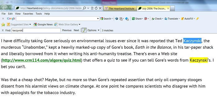 Heartland's Executive Editor Joseph Bast has a long standing hatred toward Al Gore