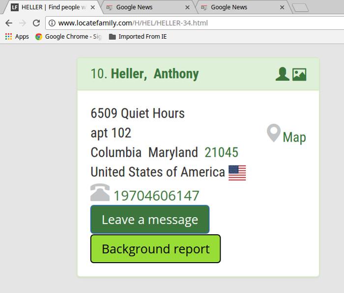 Tony Heller's address via the Locate Family website