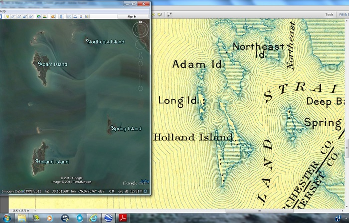 Holland Island 1898 map and Google Earth view in 2013