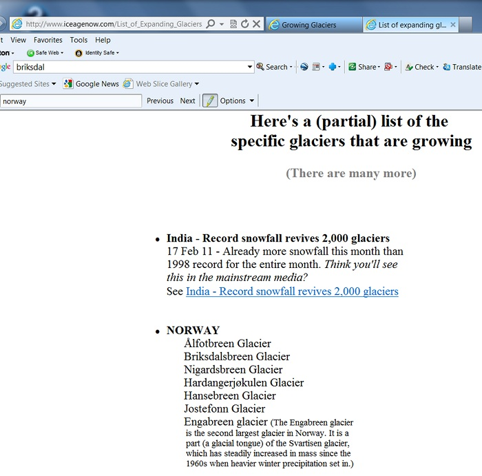 "The Ice Age Now website lists the Briksdal as an ""Growing Glacier"""