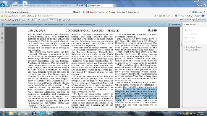 Sen. Jim Inhofe lying in the Congressional Record.