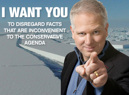 "A poster child for the ""Global Warming Deniers"". Glenn Beck does not any background in climate sciense."