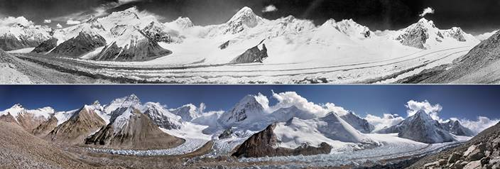 Panoramic views of Mt. Everest and the West Rongbuk Glacier