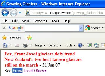 The Ice Age Now web site lists the Franz Josef Glacier as a growing glacier.