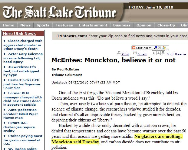 "Monckton: ""No glaciers are melting"""