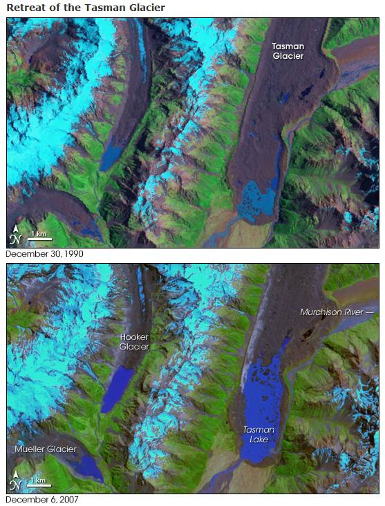 NASA's view of New Zealand's largest glacier - The Tasman Glacier
