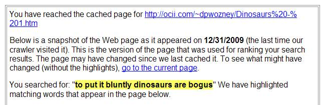"The result of a search for ""to put it           bluntly, dinosaurs are bogus""."