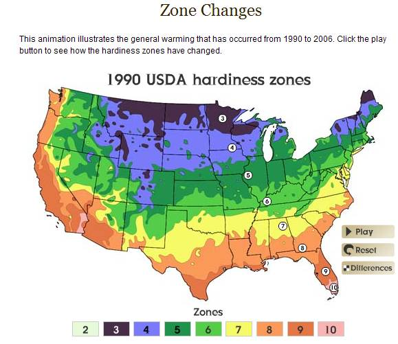 Plant hardiness zones as of 1990
