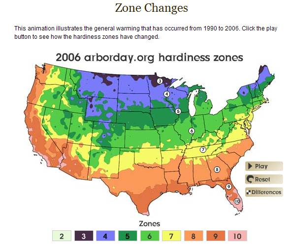 Plant hardiness zones as of 2006
