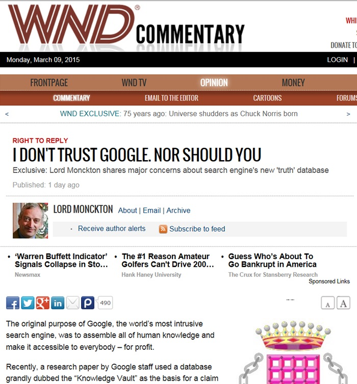 Monckton's paranoid distrust of Google