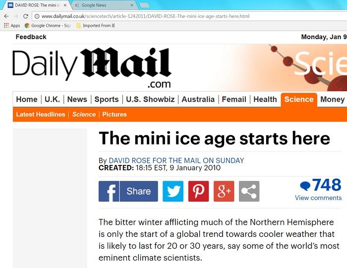 David Rose's forecast of a mini ice age