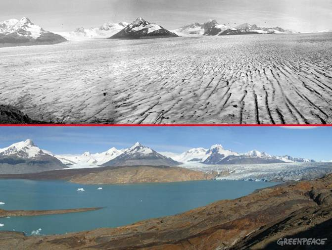 Then and now photographs of Upsala Glacier,           Argentina