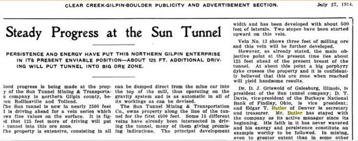 A             publicity announcement for the Golden Sun Mine.