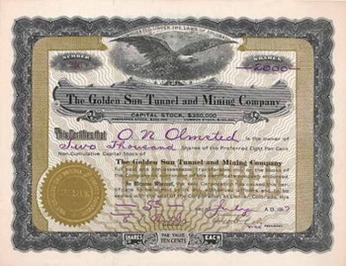 Stock certificate for the Golden Sun Tunnel.