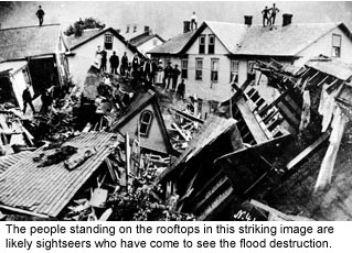 Rooftops after the Johnstown Flood.