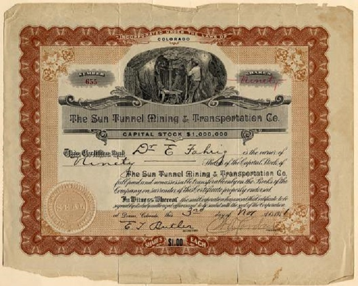 Stock certificate for Sun Tunnel Mining.