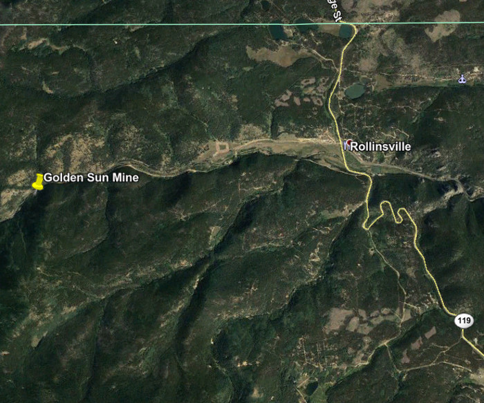 A Google Earth view showing the location of the Golden           Sun Mine.