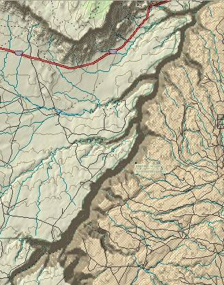 Topo map of the Barbed tributaries             in the Marble Canyin section of the Grand Canyon.