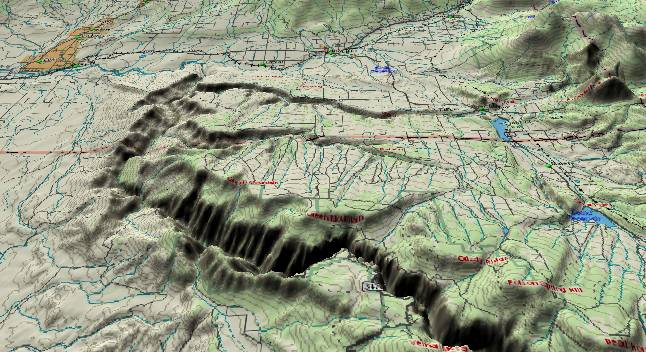 3-D computer generated picture of the               northwest section of the Black Canyon of the Gunnison               River.