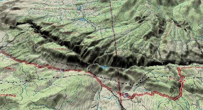 3-D computer generated picture of the               southeast portion of the Black Canyon of the Gunnison               River.