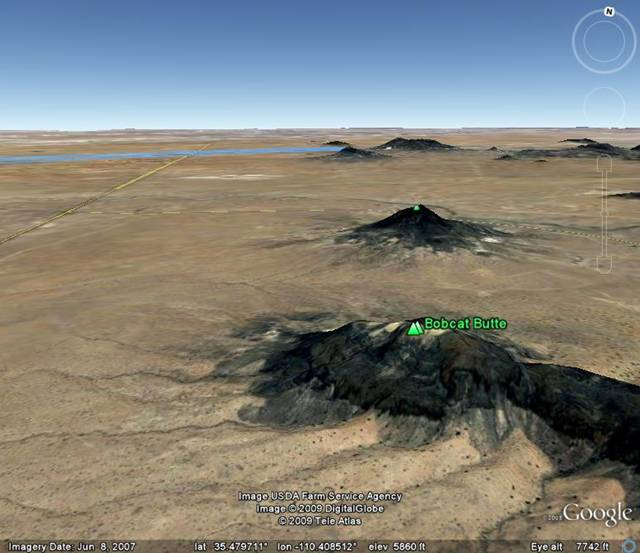 Google Earth image centered on Bobcat               Butte within Hopi Buttes